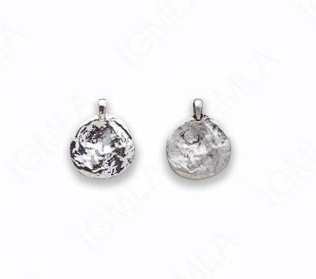 Zinc Alloy Matt Ant Silver, Shiny Silver Coin Charm