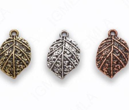 Large Zinc Alloy Burnish Gold Silver Copper Leaf Charm