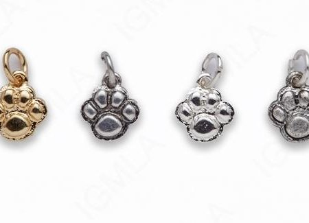 Small Zinc Alloy Shiny Silver, Gold, Burnish Silver, Matt Ant Silver Paw Print Charm