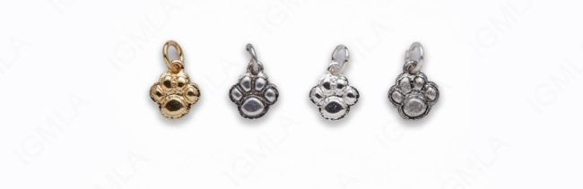 Small Zinc Alloy Shiny Silver, Gold, Burnish Silver, Matt Ant Silver Paw Print Charm