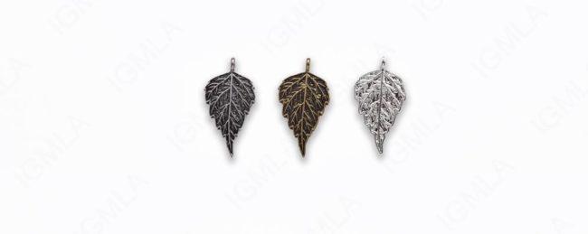 Large Zinc Alloy Shiny Silver, Burnish Gold, Silver Leaf Pendants