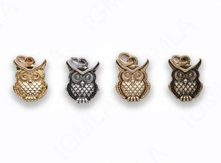 Small Zinc Alloy Shiny Gold, Matt Gold, Burnish Gold, Silver Owl Charm