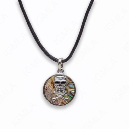 Zinc Alloy With Abalone Rhodium Plated w Black cord Pirates Skull Necklace