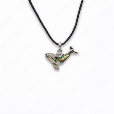 Zinc Alloy With Abalone Rhodium Plated w Black cord Whale Necklace