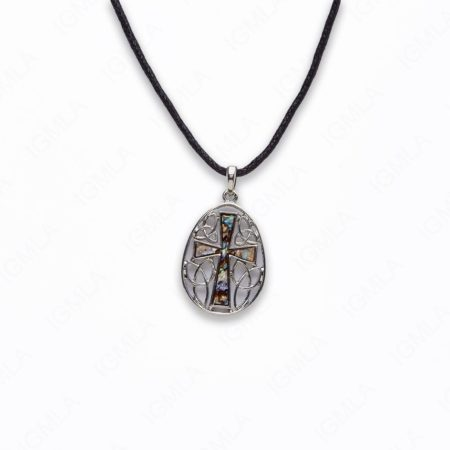 Zinc Alloy With Abalone Rhodium Plated w Black cord Cross Necklace