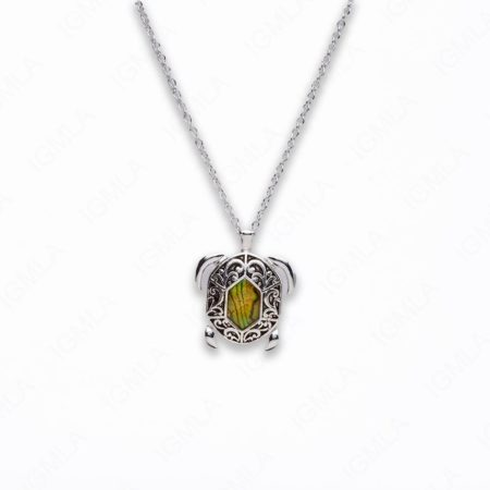 Zinc Alloy With Abalone Rhodium Plated w Black cord Swimming Turtle Necklace