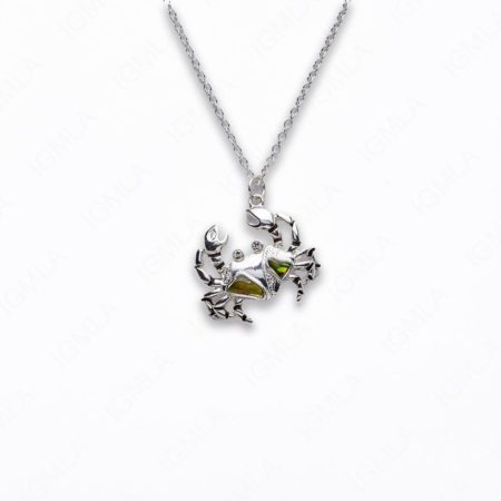 Zinc Alloy With Abalone Rhodium Plated w Black cord Crab Necklace