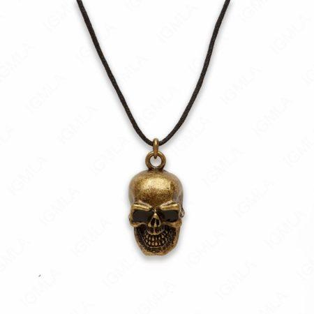 18″ Zinc Alloy Gold Burnished Tone Skull Necklace