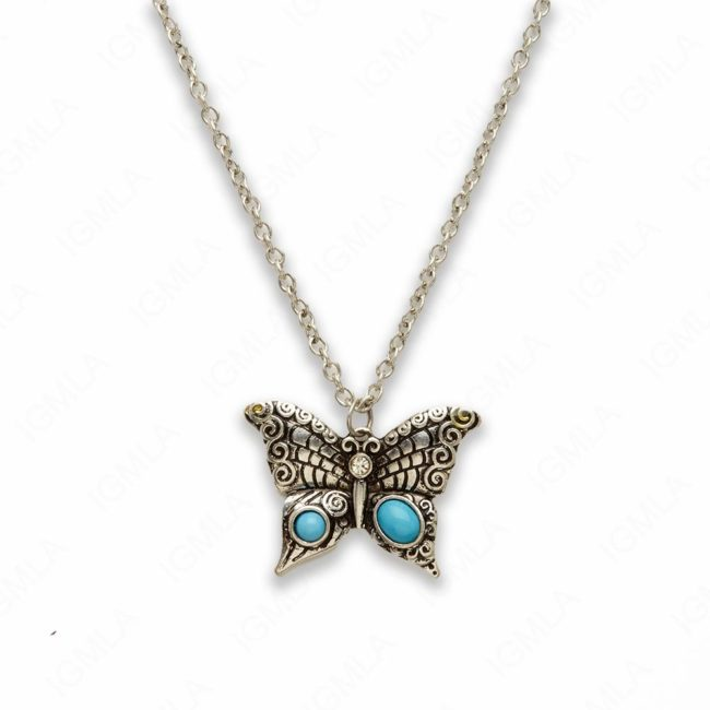 18″ Zinc Alloy Rhodium Butterfly Necklace