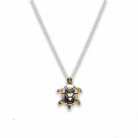 18″ Zinc Alloy Gold, Silver Tone Turtle Necklace