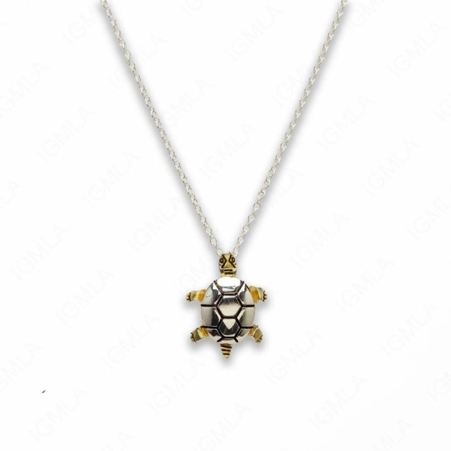 18″ Zinc Alloy Gold, Silver Tone Turtle Necklace