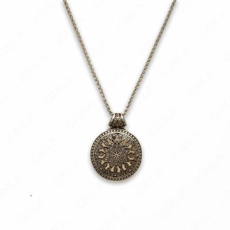 18″ Zinc Alloy Burnish Silver Tone Circle Flower Necklace