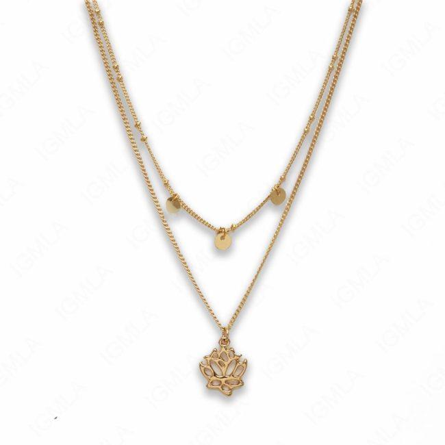 18″ Zinc Alloy Gold Tone Rose Necklace