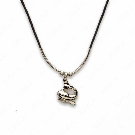 18″ Zinc Alloy Silver Tone Whale Necklace