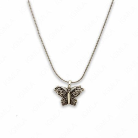 18″ Zinc Alloy Burnish Silver Tone Butterfly Necklace