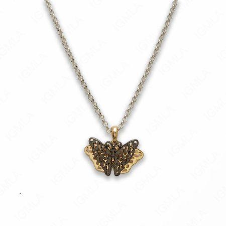18″ Zinc Alloy Silver, Gold, Gun Metal Tone Butterfly Necklace
