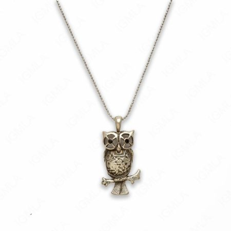 18″ Zinc Alloy Burnish Silver Tone Owl Necklace