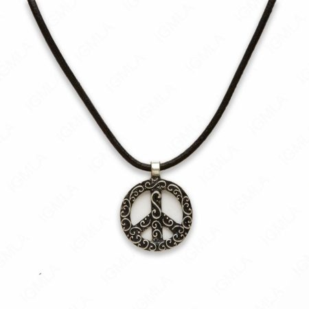 18″ Zinc Alloy Burnish Silver Tone Peace Circle Necklace