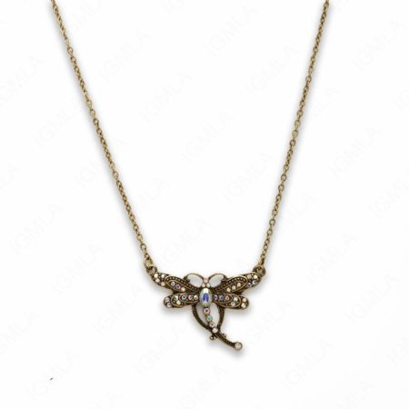18″ Zinc Alloy Antique Gold Tone Butterfly Necklace