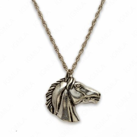 18″ Zinc Alloy Burnish Silver Tone Horse Face Necklace