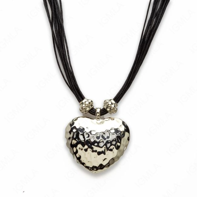 18″ Zinc Alloy Rhodium Heart Necklace