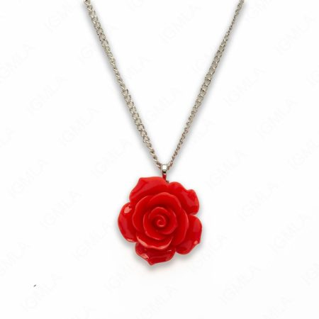 18″ Synthetic Resin Red Rose Necklace
