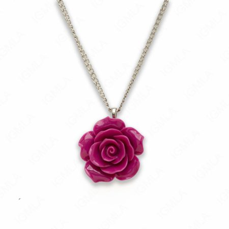 18″ Synthetic Resin Purple Rose Necklace