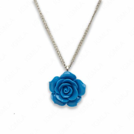18″ Synthetic Resin Blue Rose Necklace