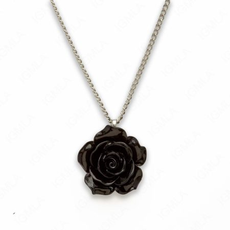 18″ Synthetic Resin Black Rose Necklace