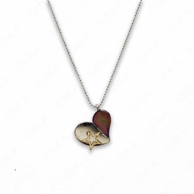 18″ Zinc Alloy with Mood Stone Rhodium Heart Necklace