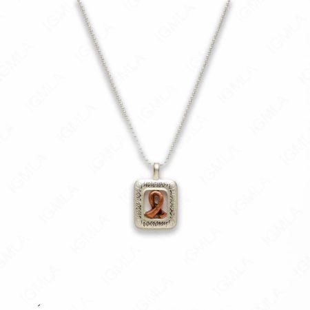 18″ Zinc Alloy Matted Copper, Silver Tone Cancer Sign Survivor Necklace
