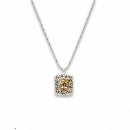 18″ Zinc Alloy Matted Copper, Silver Tone Flower Sign Joy Necklace