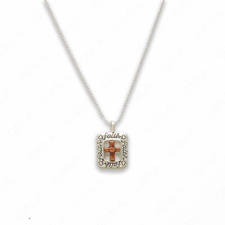 18″ Zinc Alloy Matted Copper, Silver Tone Cross Sign Love Necklace