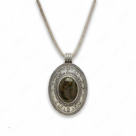 18″ Zinc Alloy with Labradorite Burnish Silver Tone Oval Necklace