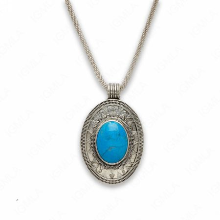 18″ Zinc Alloy with Howlite Turquoise Burnish Silver Tone Oval Necklace