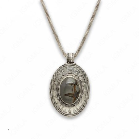 18″ Zinc Alloy with Paint Brush Japer Burnish Silver Tone Oval Necklace