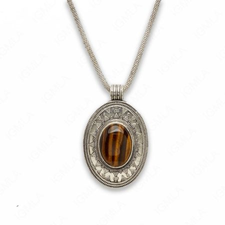 18″ Zinc Alloy with Tiger Eye Burnish Silver Tone Oval Necklace