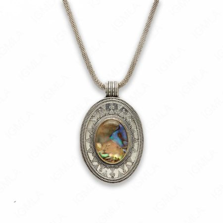 18″ Zinc Alloy with Abalone Burnish Silver Tone Oval Necklace