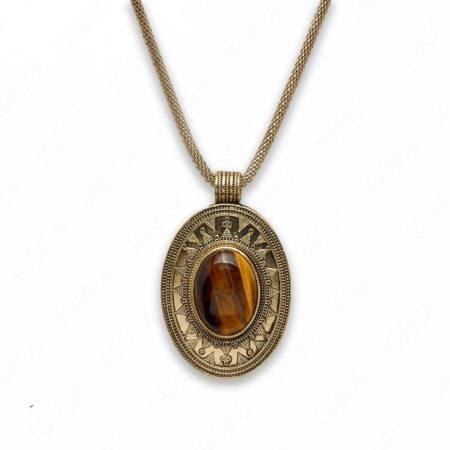 18″ Zinc Alloy with Tiger Eye Gold Burnish Tone Oval Necklace