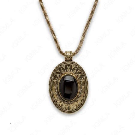 18″ Zinc Alloy with Blackstone Gold Burnish Tone Oval Necklace