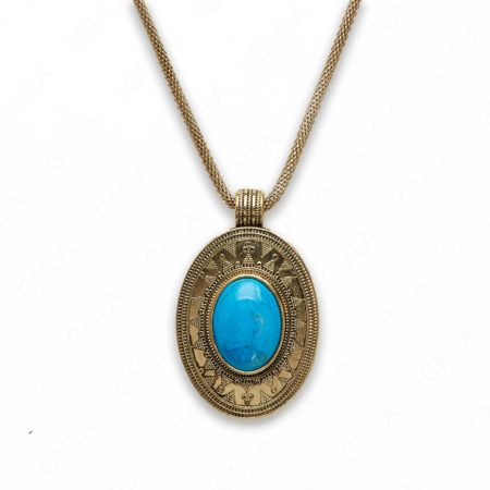 18″ Zinc Alloy with Blue Howlite Gold Burnish Tone Oval Necklace