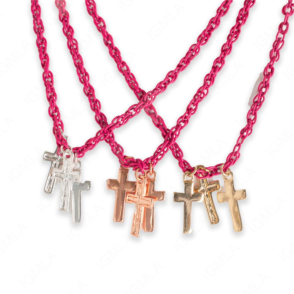 18″ Zinc Alloy Colorful Chain, Silver, Gold, Copper Pend. Cross Sign Necklace