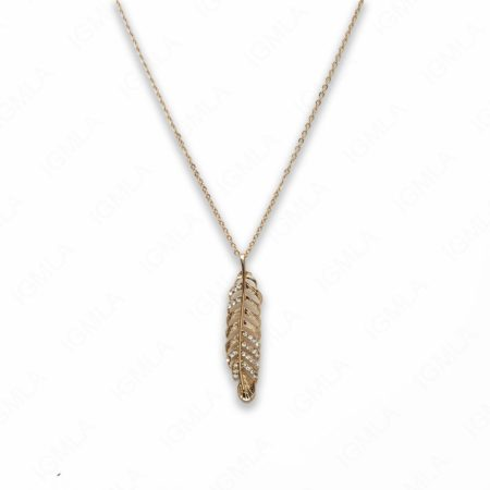 18″ Zinc Alloy Gold Tone Feather Feather Necklace