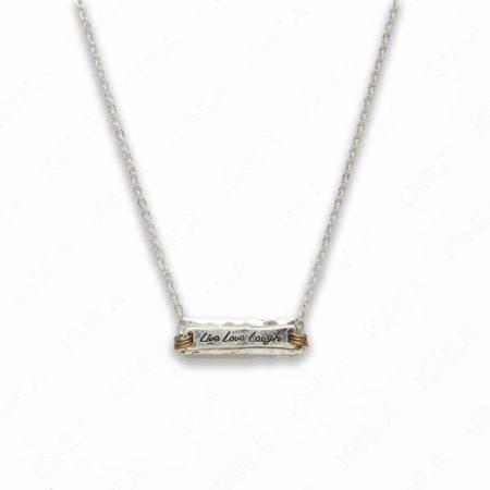 18″ Zinc Alloy Silver Tone Live, Love, Laugh Rectangle Necklace