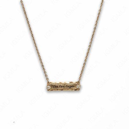 18″ Zinc Alloy Gold Tone Live, Love, Laugh Rectangle Necklace