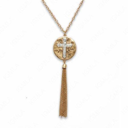 18″ Zinc Alloy Gold Burnish Coin with Cross/Faith Necklace