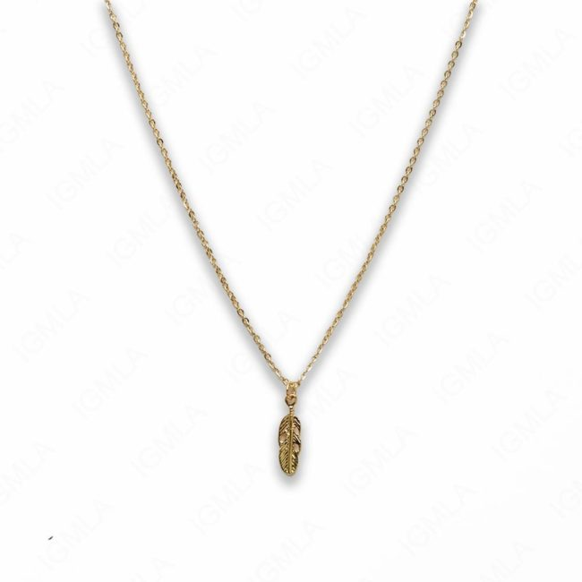 18″ Zinc Alloy Gold Tone Small Feather Necklace