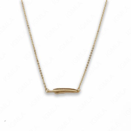 18″ Zinc Alloy Gold Tone Feather Necklace