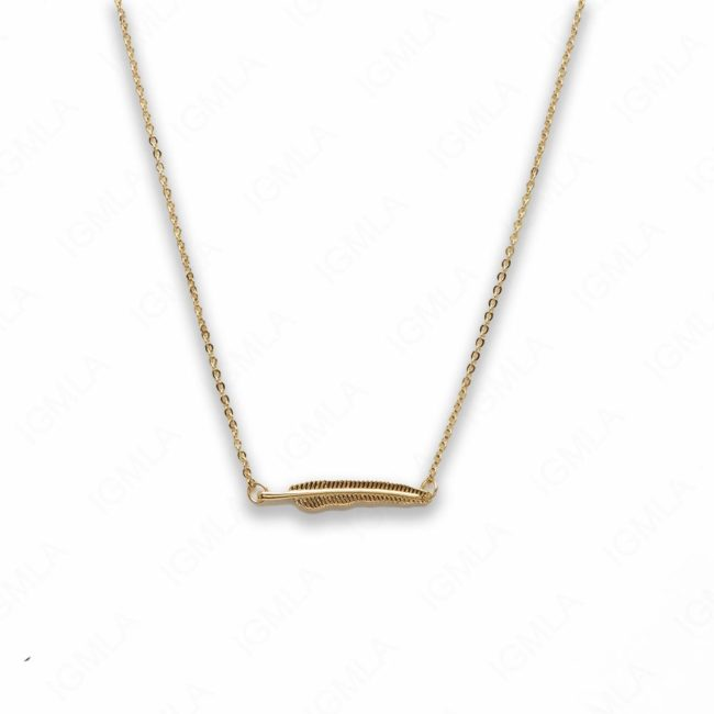 18″ Zinc Alloy Gold Tone Feather Necklace