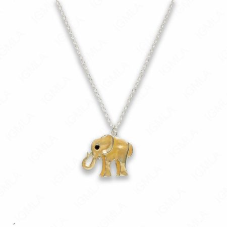 18″ Zinc Alloy Silver Tone with Yellow Elephant Necklace